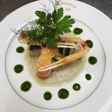 真鯛とラングスティーヌのポワレ