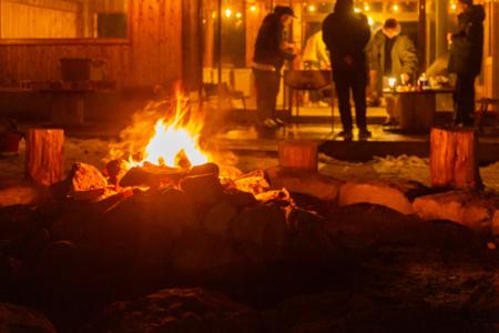 BBQしながら焚き火体験