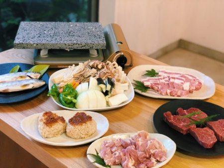 山梨県産ブランド肉の溶岩BBQコース