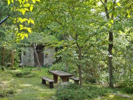 母屋前庭・緑の中の石積みの丸い小屋