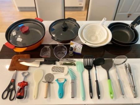 食器も充実。地元食材で料理しませんか。
