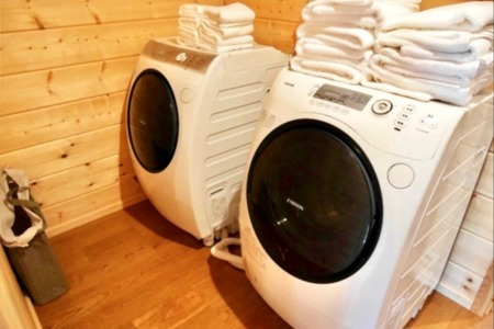 連泊も安心の乾燥機付き洗濯機