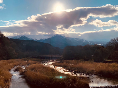 蔵王山水苑から蔵王連峰を望む