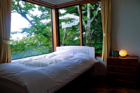 北斗七星を眺められる2階のベッドルーム