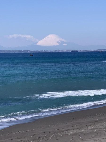 海を見ながら富士山鑑賞