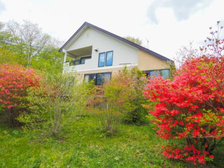 別荘は花木に囲まれています