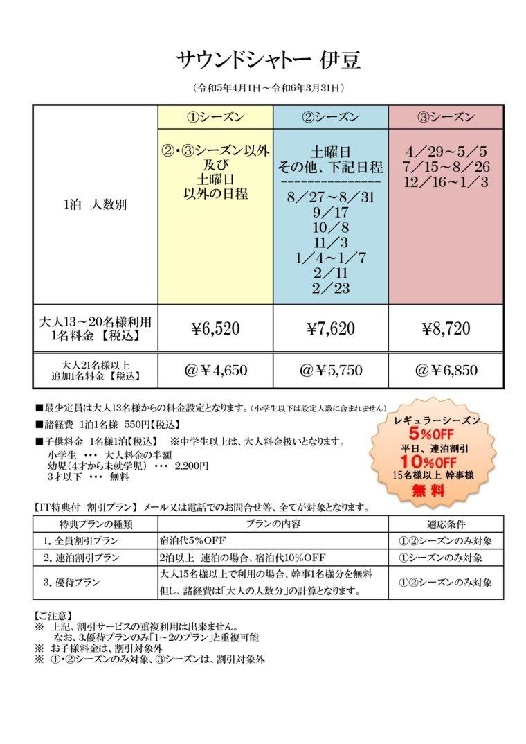 貸別荘 サウンドシャトー伊豆の宿泊料金表