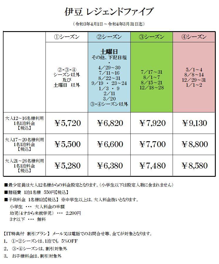 レジェンドファイブ伊豆高原の宿泊料金表