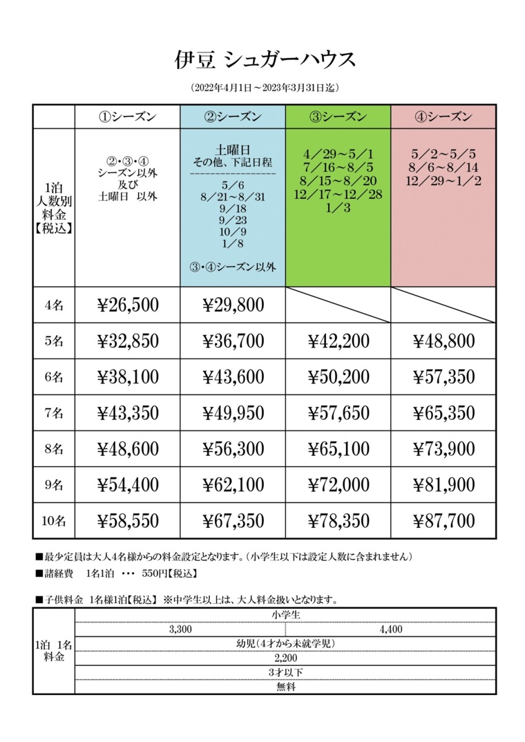 伊豆シュガーハウスの宿泊料金表