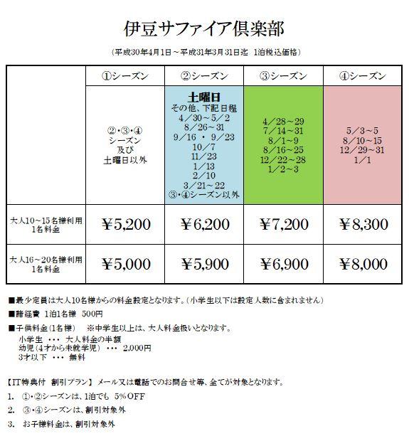 貸別荘 伊豆サファイア倶楽部の宿泊料金表