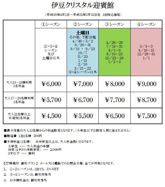 貸別荘 伊豆クリスタルの宿泊料金表